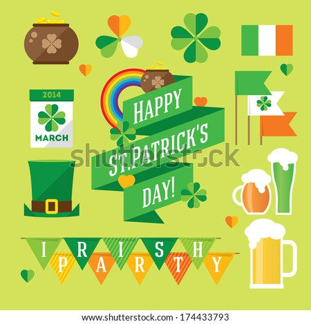 Happy St. Patrick's Day vector illustration icon set. Traditional irish symbols in modern flat style. Design elements for Irish poster, banner. - stock vector