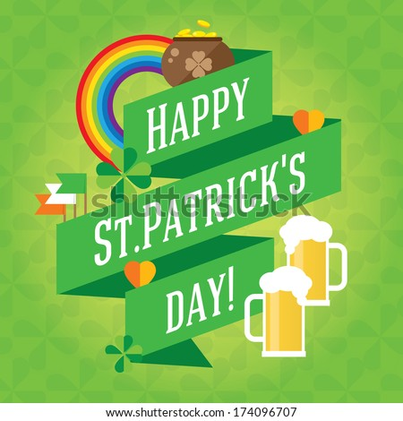 Happy St. Patrick's Day vector lettering illustration with clover leaves background. Traditional irish symbols in modern flat style. Design elements for Irish poster, banner. - stock vector