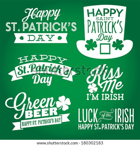 Happy St. Patrick's Day Vector Set | Kiss Me I'm Irish | Luck of the Irish | Green Beer Shamrock Lucky Vectors - stock vector