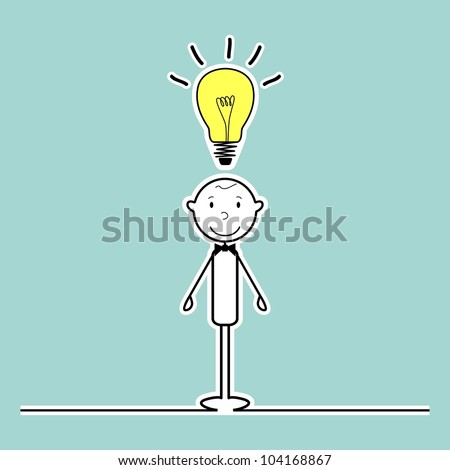 happy stick man with idea - stock vector