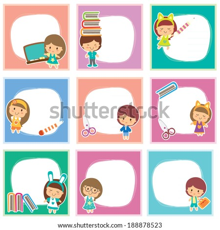 Happy students layout design - stock vector
