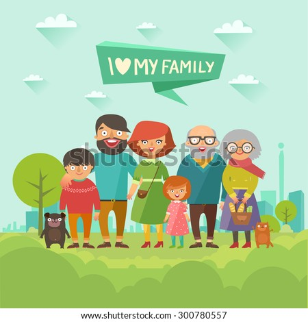 Happy stylish family posing together on city background. Portrait of six member: parents with kids, grandmother, grandfather, dog and cat. Vector colorful illustration in flat design - stock vector