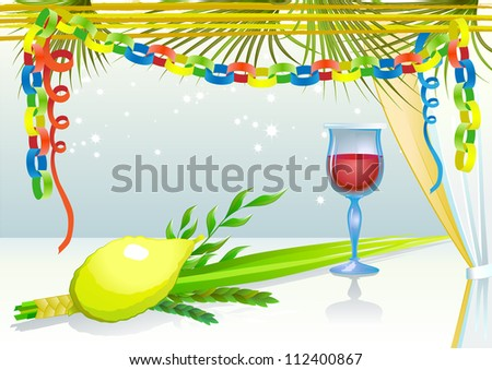 Happy Sukkot with glass of wine - stock vector