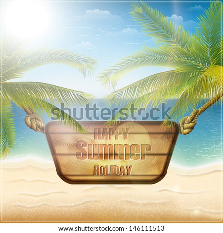 Happy summer holiday card eps10 vector illustration - stock vector