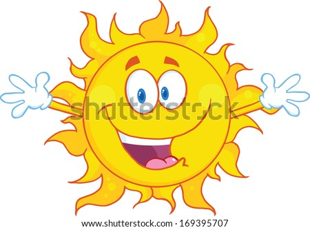 Happy Sun With Welcoming Open Arms - stock vector