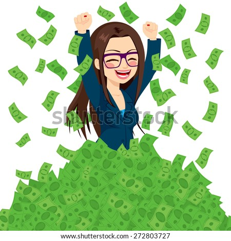 Happy super rich successful businesswoman raising from huge pile of green money bank notes - stock vector