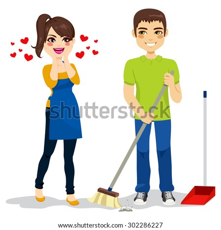 Happy surprised woman loves boyfriend cleaning floor with sweeper - stock vector