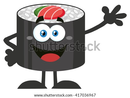 Happy Sushi Roll Cartoon Mascot Character Waving. Vector Illustration Flat Style Isolated On White - stock vector