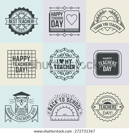 Happy Teachers` Day assorted design insignias logotypes set 2. Thank you signs for teacher appreciation. Vector symbols elements. Thank you notes for teacher. - stock vector