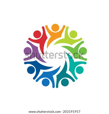 Happy Team group people 9 image. Concept of emotions, exciting, playful. Vector icon - stock vector