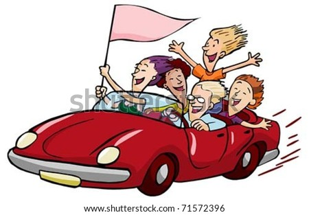happy teens riding in a red convertible with a flag isolated on white - stock vector