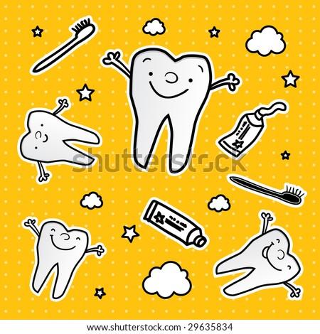 happy teeth cartoon vector wallpaper, dental health for children - stock vector