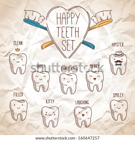 Happy teeth set. Dental collection for your design. Vector cartoons. Illustration for children dentistry. Happy cute characters for your presentation. Crumpled paper background. - stock vector