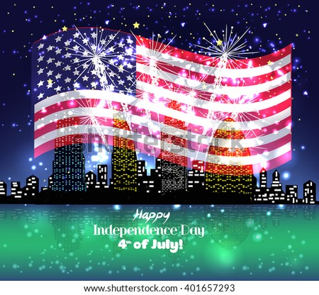Happy 4th July independence day with fireworks background - stock vector