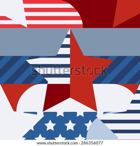 Happy 4th of July, USA Independence Day, vector seamless pattern. Multicolor star and flag, creative color blocking background. Abstract design concept for greeting card, banner, flyer, poster. - stock vector