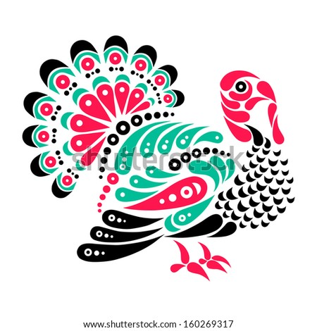 Happy Thanksgiving beautiful turkey tattoo, symbol decoration illustration - stock vector