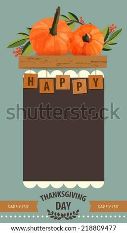 Happy Thanksgiving Card - stock vector