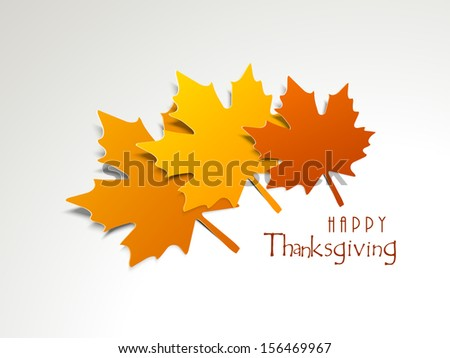 Happy Thanksgiving concept with maple leafs on grey background.  - stock vector