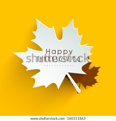 Happy Thanksgiving Day background with beautiful autumn maple leaves, can be use as flyer, banner or poster.  - stock vector