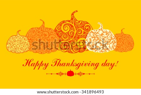 Happy Thanksgiving Day card. Vector illustration  - stock vector