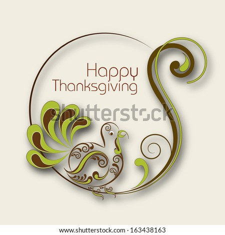 Happy Thanksgiving Day celebration concept with floral decorated frame with turkey bird.  - stock vector