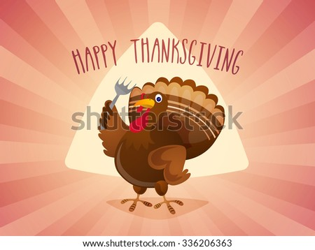 Happy Thanksgiving Day celebration with cute Turkey holding a fork on abstract rays background. - stock vector