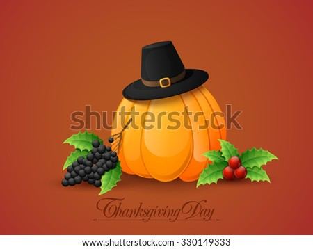 Happy Thanksgiving Day celebration with pumpkin, pilgrim hat and fresh fruits on glossy background. - stock vector