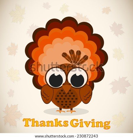 Happy Thanksgiving Day celebrations greeting card design with turkey bird on seamless maple leaves decorated background. - stock vector