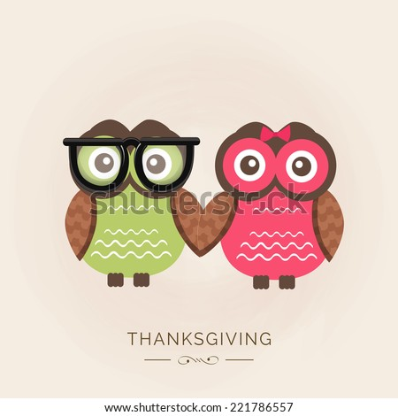 Happy Thanksgiving Day celebrations with cute owl couple on beige background.  - stock vector