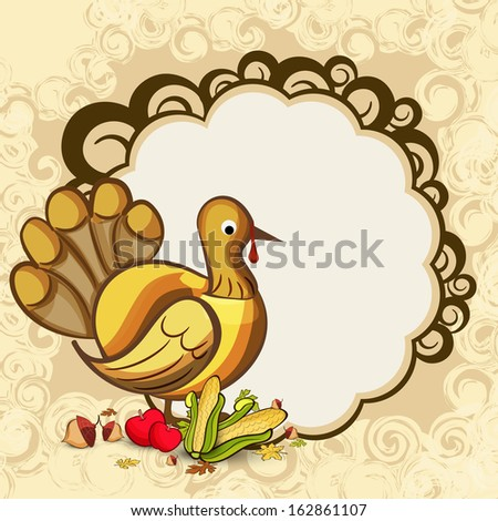 Happy Thanksgiving Day concept with turkey bird, fruits, vegetables and blank space for your message.  - stock vector
