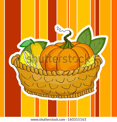 Happy Thanksgiving Day concept with wooden basket full of fruits and vegetables on colorful vintage background.  - stock vector