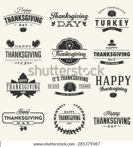 Happy Thanksgiving Day Design Collection - A set of twelve dark colored vintage style Thanksgiving Designs on light background - stock vector