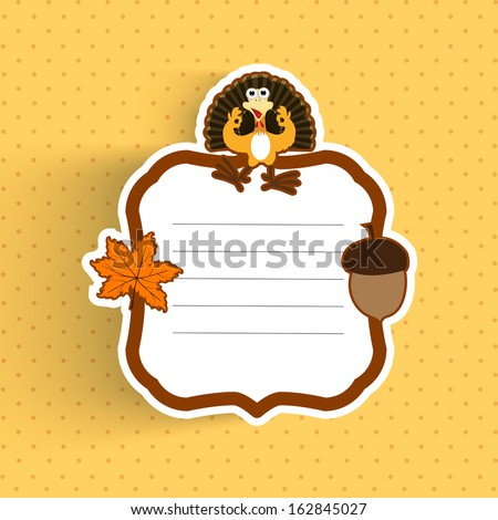 Happy Thanksgiving Day greeting or invitation card with maple leave, turkey bird and space for your message on abstract yellow background.  - stock vector