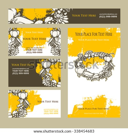 Happy Thanksgiving Day. Invitation cards. - stock vector