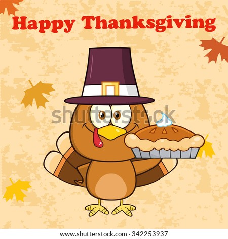 Happy Thanksgiving Greeting With Cute Pilgrim Turkey Bird Cartoon Character Waving. Vector Illustration Greeting Card - stock vector