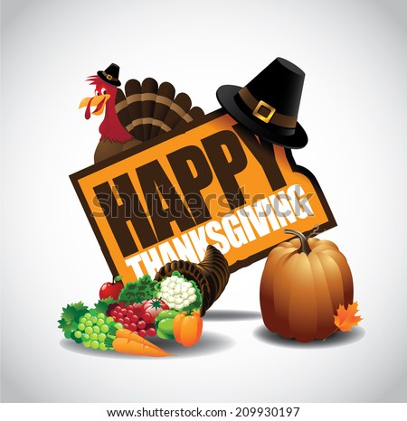 Happy Thanksgiving icon EPS 10 vector - stock vector