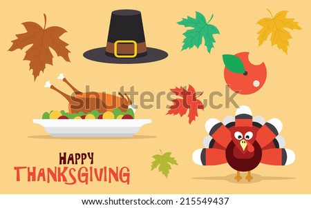 Happy Thanksgiving set with leaves, turkey and pilgrim hat, vector icons - stock vector