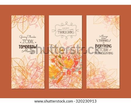 Happy Thanksgiving. Three autumn banners with stylized autumn leaves - stock vector