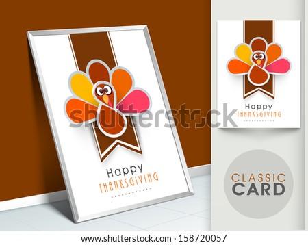 Happy Thanksgiving vintage greeting card with cute happy cartoon of turkey bird.  - stock vector