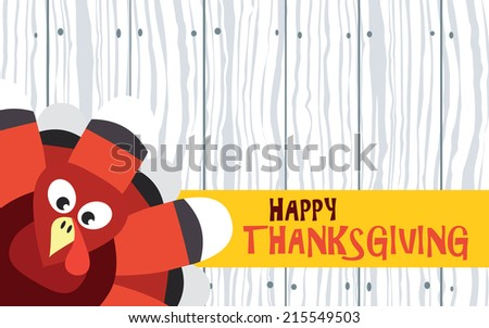 Happy Thanksgiving with turkey on wood plank, vector card - stock vector