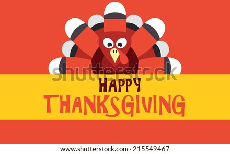 Happy Thanksgiving with turkey, vector card - stock vector