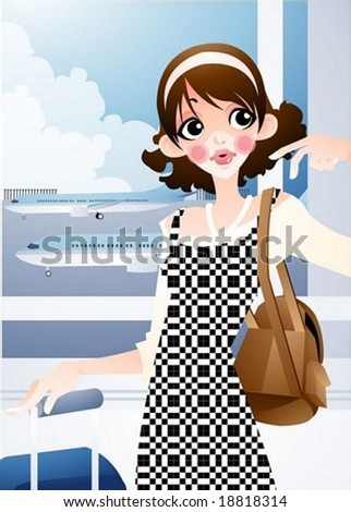 Happy Travel - waiting cute young female with suitcase in the airline terminal on a background of beautiful sky and airport - stock vector