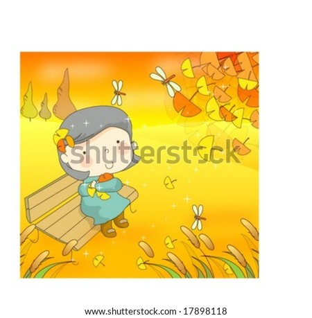 Happy Travel with Cute Child - enjoying romantic rural scenery of yellow or colorful autumn leaves with lovely young girl in pretty natural park background with beautiful sunset : vector illustration - stock vector