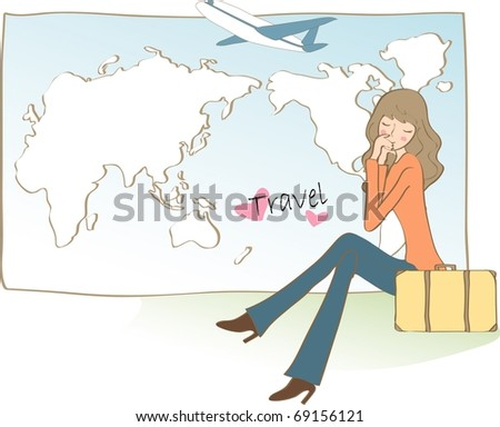 Happy Travel with Good Feeling - stock vector