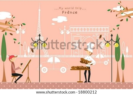 Happy Travel - working cute young painter and baker with French beautiful famous architectures on a street of pretty city park on romantic pink background : vector illustration - stock vector