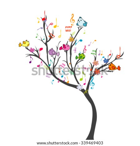 Happy tree with birds and musical notes - stock vector