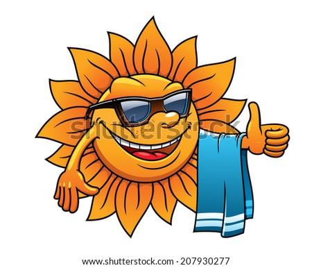 Happy tropical sun logo on a beach vacation with a towel over its arm, wearing sunglasses and giving a thumbs up of approval, cartoon illustration on white - stock vector