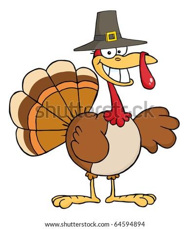Happy Turkey Cartoon Character With Pilgrim Hat - stock vector