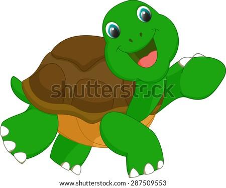 happy turtle cartoon - stock vector