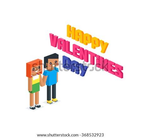 Happy valentine day couple 3d isometric. Valentines day, happy valentine, young couple, happy couple, valentine couple in love, isometric 3d couple people, romantic relationship lover illustration - stock vector